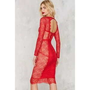 Nasty Gal Must Be The Lace Long Sleeve Midi Dress